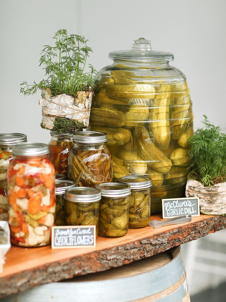 Craft pickle bar idea for wedding reception food