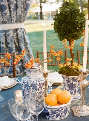 Tablescape with Blue Chinoiserie Vases and Orange Accents