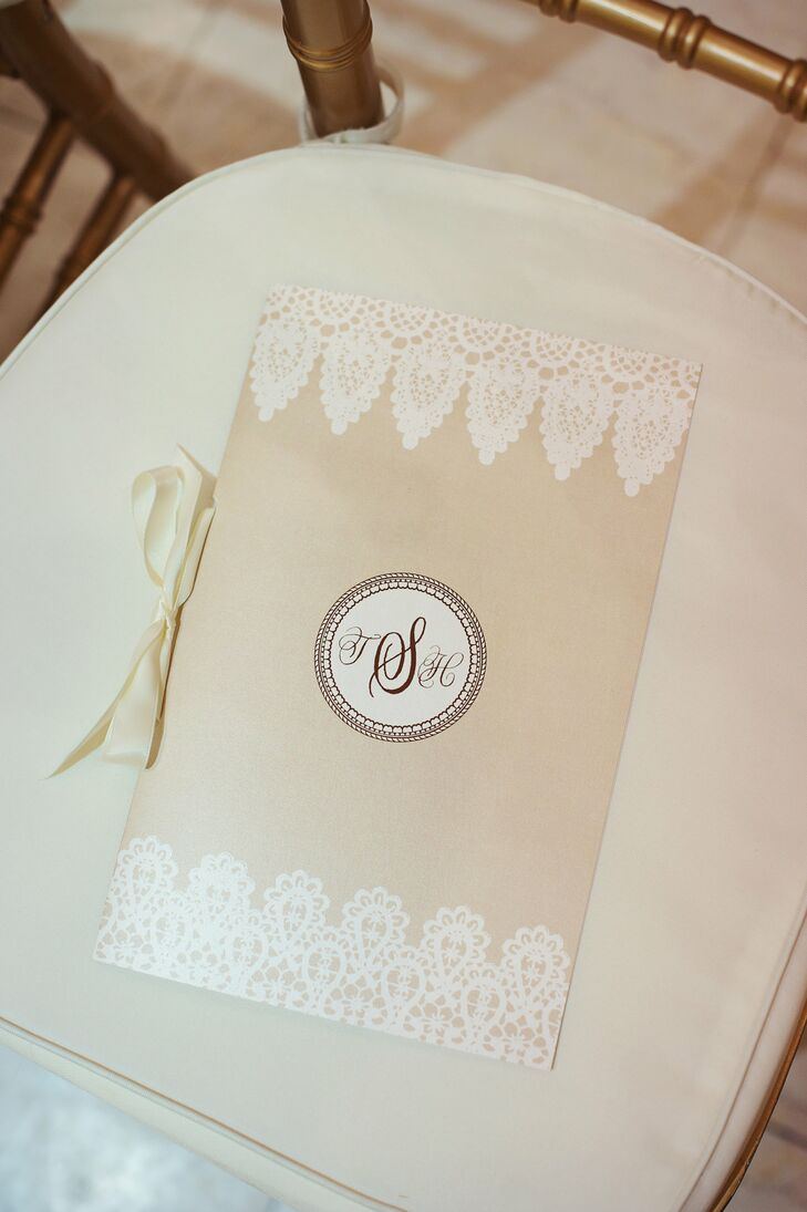 Heidi designed the ceremony programs; she included a lace design on the top and bottom and the couple's monogram.