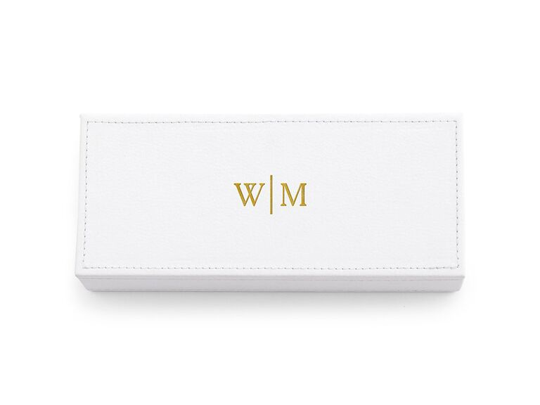 monogrammed faux leather jewelry box