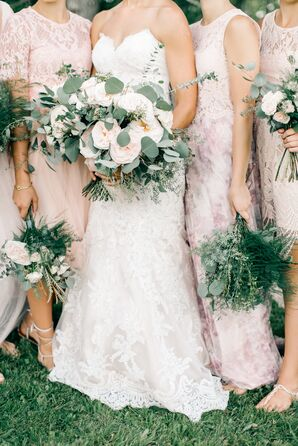Bohemian Bridal Party with Oversized Garden Roses, Eucalyptus and Greenery Bouquets