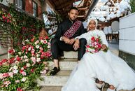 "Incorporating as much bougainvillea as possible was the goal for Malika (a journalist) and Antar (a photographer) with their ""pops of pink""-themed wed"