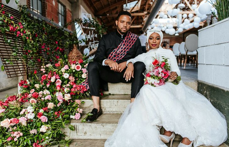 """Incorporating as much bougainvillea as possible was the goal for Malika (a journalist) and Antar (a photographer) with their """"pops of pink""""-themed wed"""