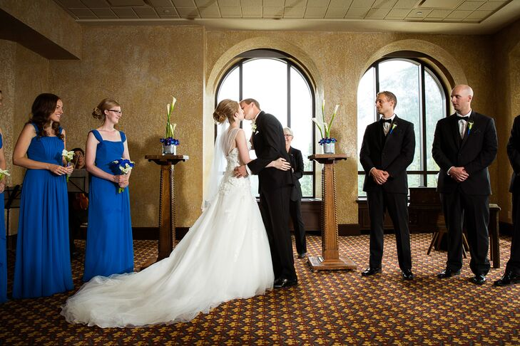 The couple's indoor ceremony at Fairmont Banff Springs was very formal and traditional.