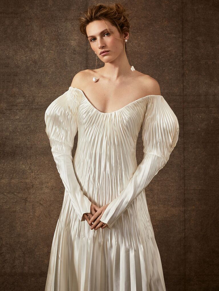 Danielle Frankel Spring 2020 Bridal Collection pleated off-the-shoulder wedding dress with puff sleeves