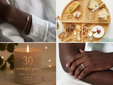 Collage of four 30th anniversary gift ideas