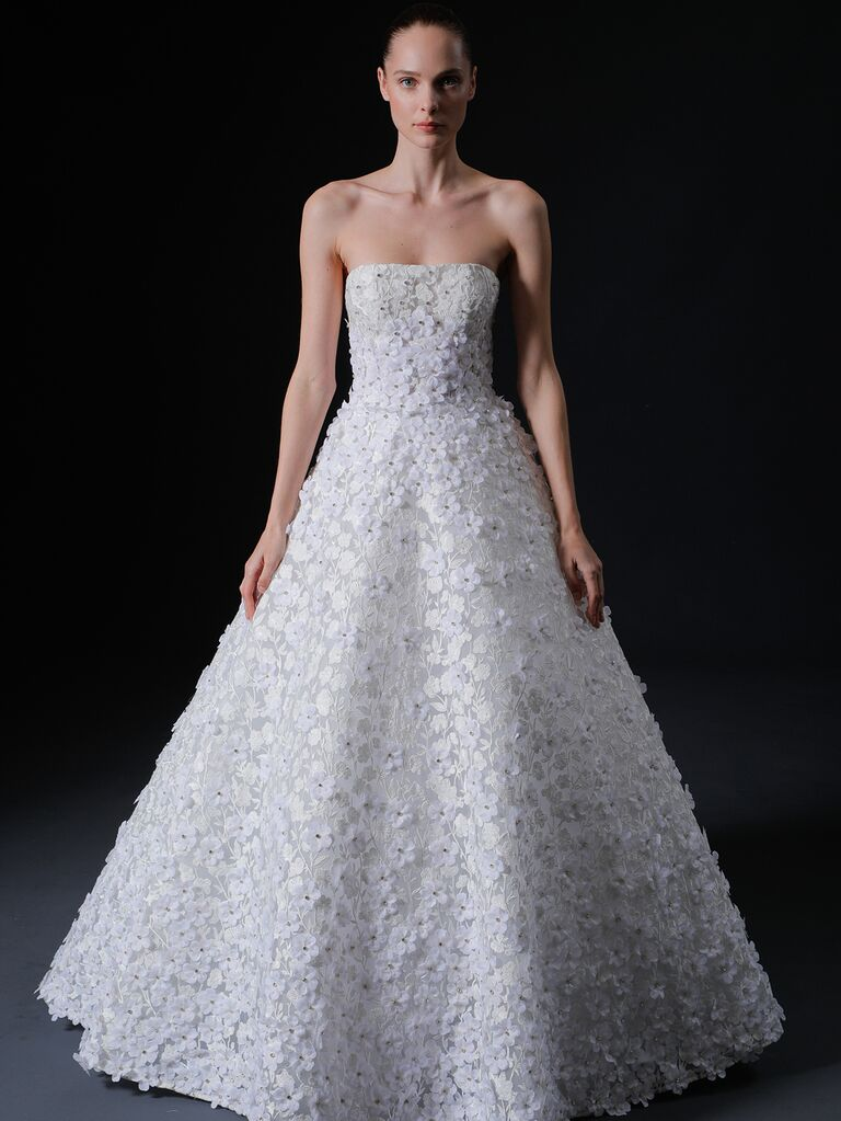 Isabelle Armstrong Spring 2020 Bridal Collection strapless A-line wedding dress with floral appliqué