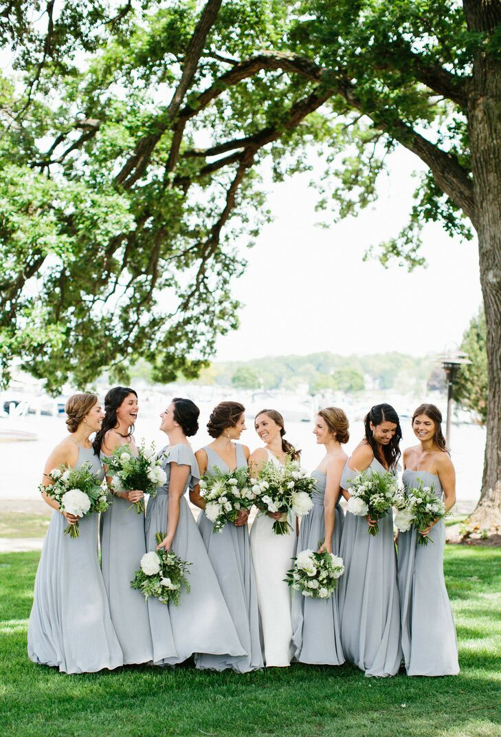 Classic Bridesmaids with Dusty-Blue Gowns and Natural Bouquets