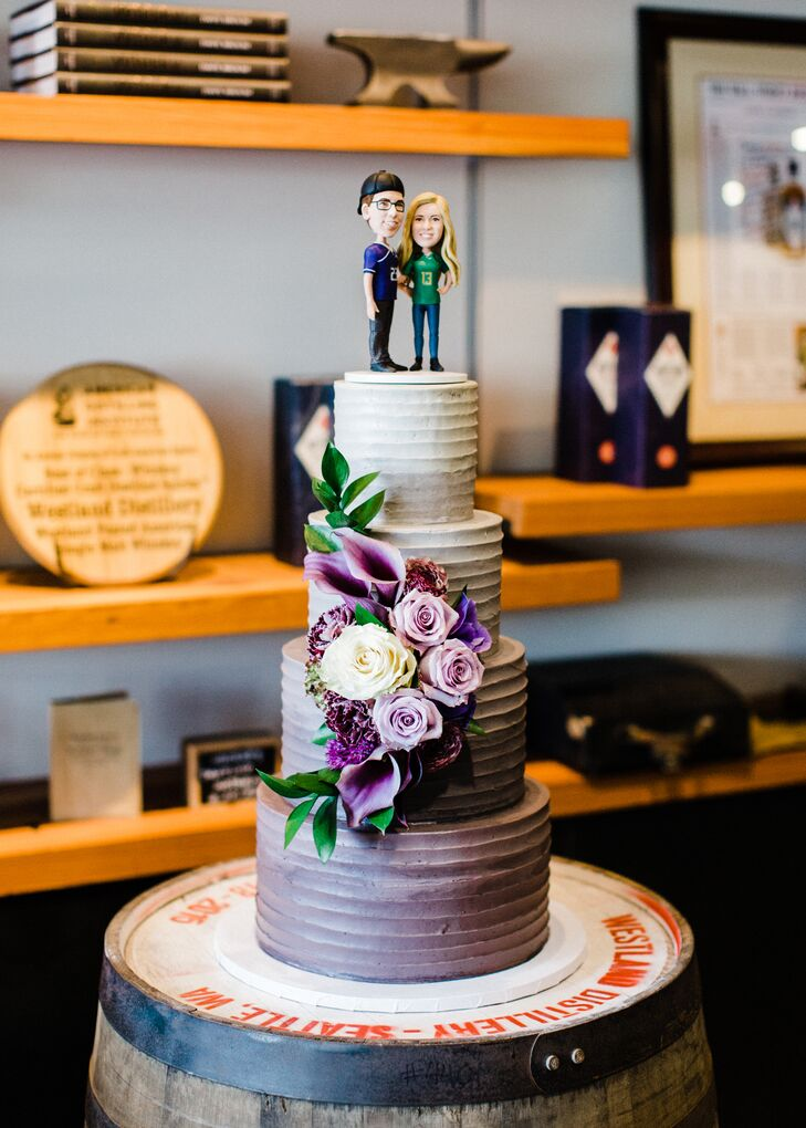 Purple Ombré Cake with Custom Topper