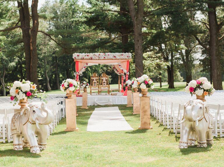 Elegant Elephant Statues ceremony aisle decor