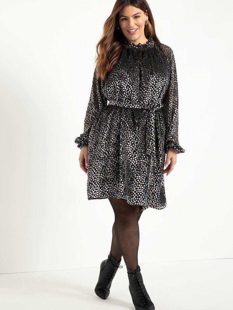 Metallic long sleeve mini dress