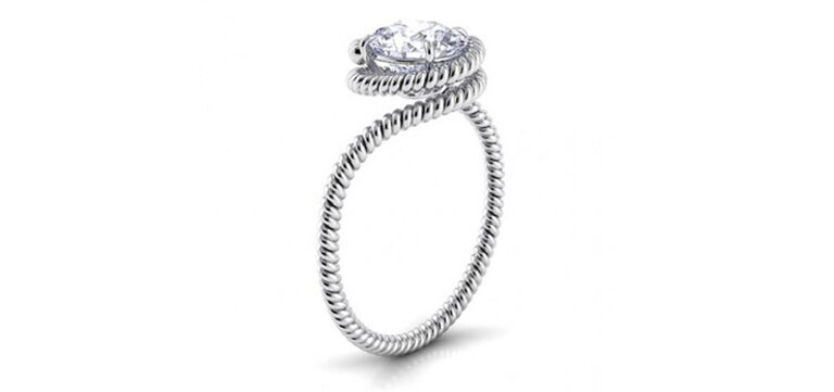 Swirl band engagement ring by Danhov