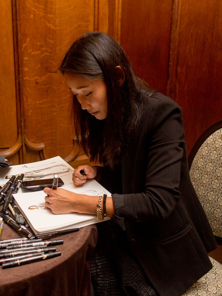 High-fashion sketches by local artist Kristine Steiner were a popular gift for guests.