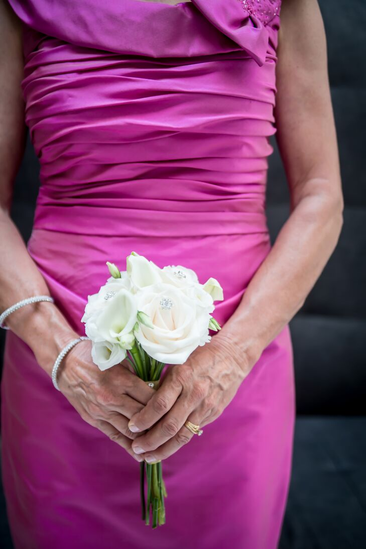 Petite White Rose Bridesmaid Bouquet