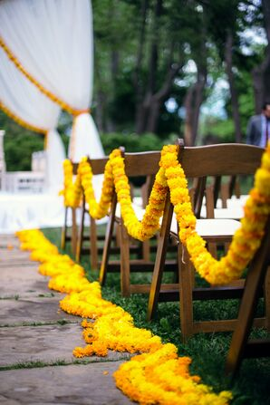 Aisle Accented with Orange and Yellow Marigolds