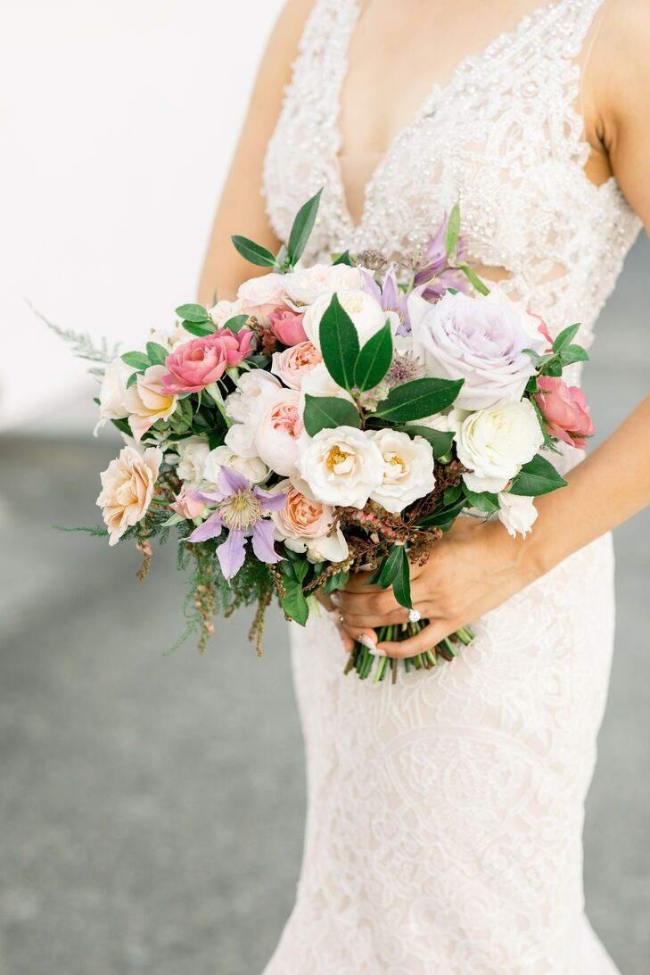 Pink-and-Purple Rose Bouquet at at Wente Winery Wedding