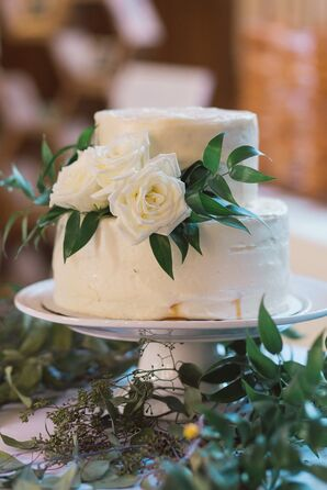 Buttercream Cake with White Roses