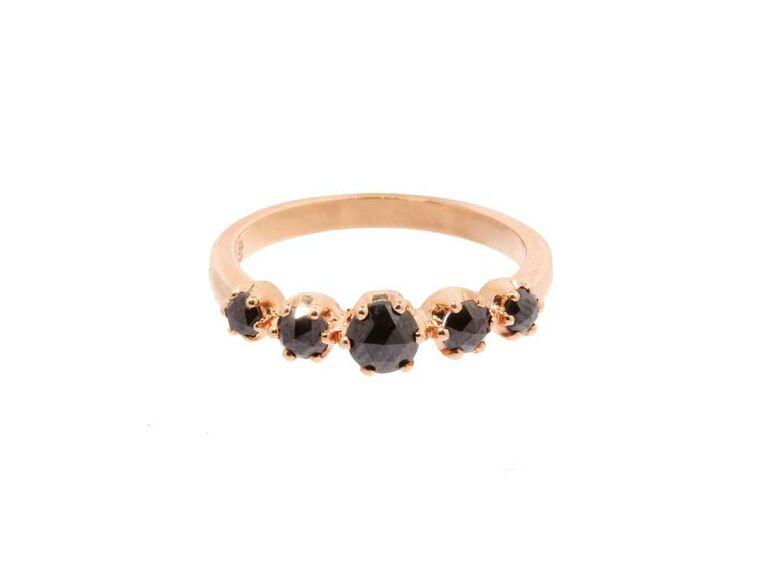 Rose-cut black diamond engagement ring set on rose gold band