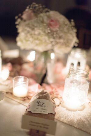 Personalized Wedding Favors in a Burlap Bag