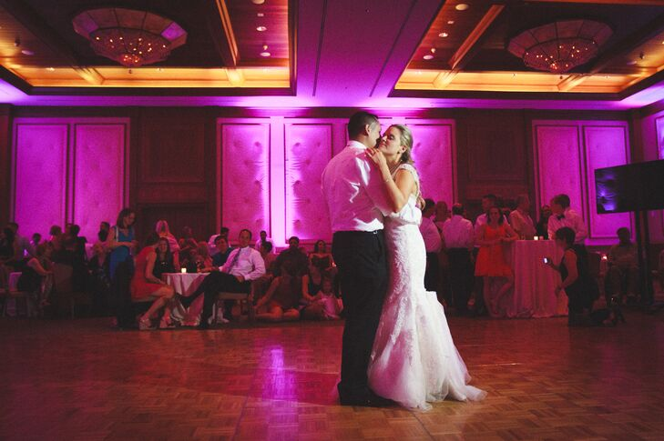 Maggie and Joseph decided to make the most of their venue's many event facilities and host each part of the evening in a different location. After dinner, the newlyweds moved their guests indoors to the dramatically lit Four Seasons ballroom where they danced the night away to the upbeat sounds of The Beat Booth.
