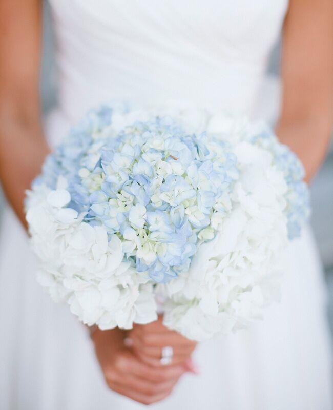 A Pastel Blue Hydrangea Bridal Bouquet  <img class=