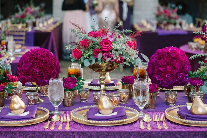 Purple and Gold, Grecian-Inspired Tablescapes