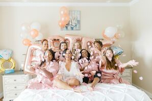 Bridal Party Getting Ready in Blush Robes for South Carolina Wedding