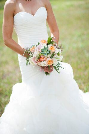 Strapless, Mermaid-Style Wedding Dress With Ruching