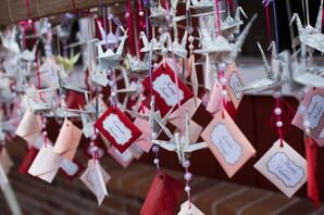 Pink and Red Paper Crane Escort Cards