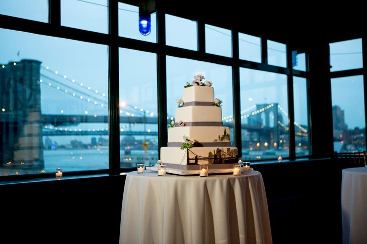 Square Wedding Cake with the Manhattan Skyline