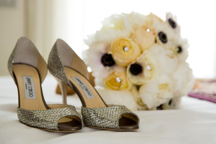 To complete her glam bridal look, Marielle walked down the aisle in a pair of metallic Jimmy Choo peep toe heels.