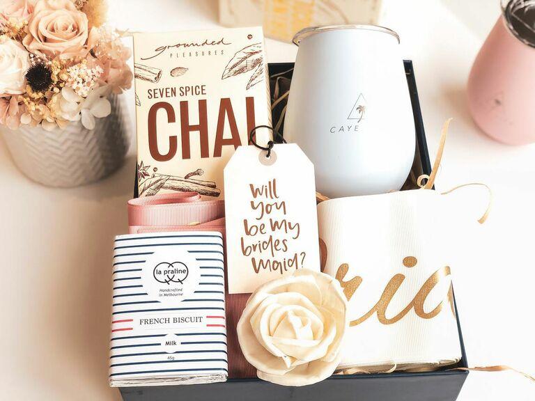 bridesmaid proposal box with tea and tumbler