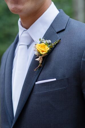 Simple Single Yellow Rose Boutonniere