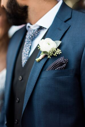Polka Dot Pocket Square and White Ranunculus Boutonniere
