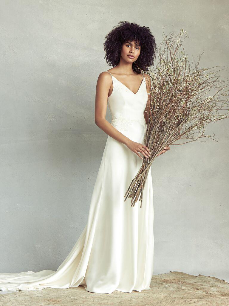 Savannah Miller Spring 2020 Bridal Collection sheath V-neck wedding dress
