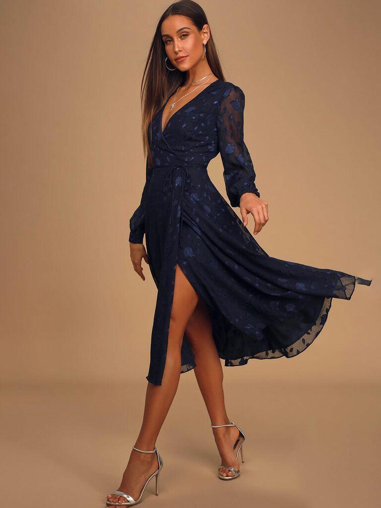 Lulus long sleeve navy jacquard wrap dress