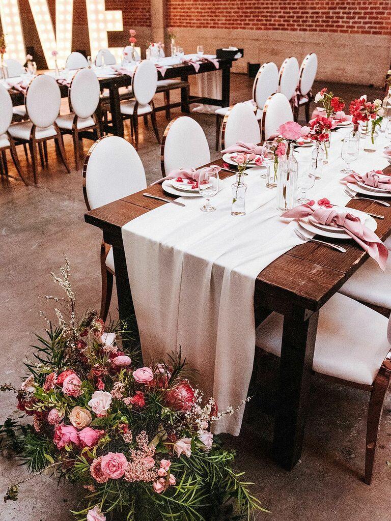 spring wedding centerpieces pink single stem flowers