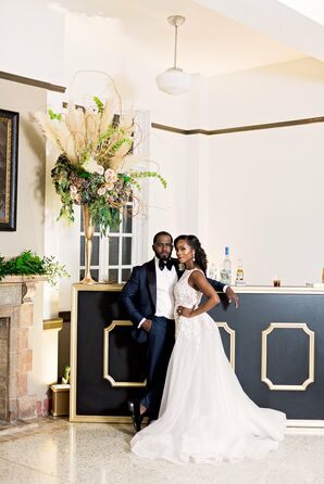 Black Art Deco Bar with Gold Accents