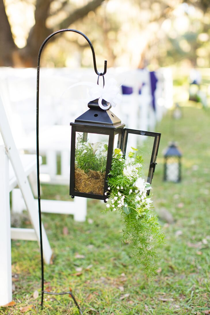 Greenery Filled Lantern Wedding Ceremony Aisle Decor