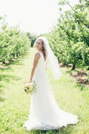 White David's Bridal Wedding Dress with Veil