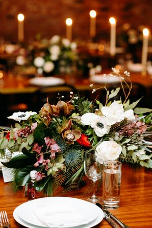 Modern Centerpiece with Bold Flowers and Greenery