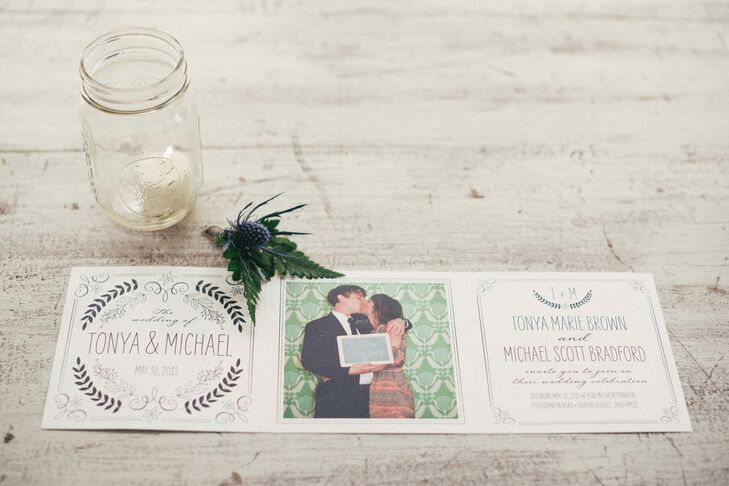 """The invites, ordered online through weddingpaperdivas.com, """"really suited our fun and unconventional style,"""" Tonya says."""