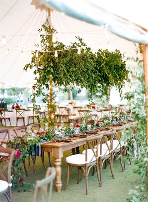 Tented Reception with Greenery Chandelier at The Gasparilla Inn in Boca Grande, Florida