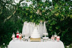 White Wedding Cake and Candy Bar