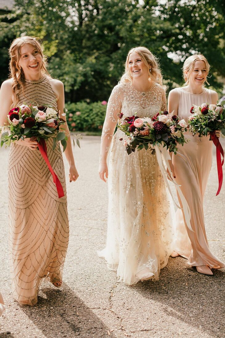 Sparkly Bridesmaids Dresses and Ribbon-Clad Bouquets