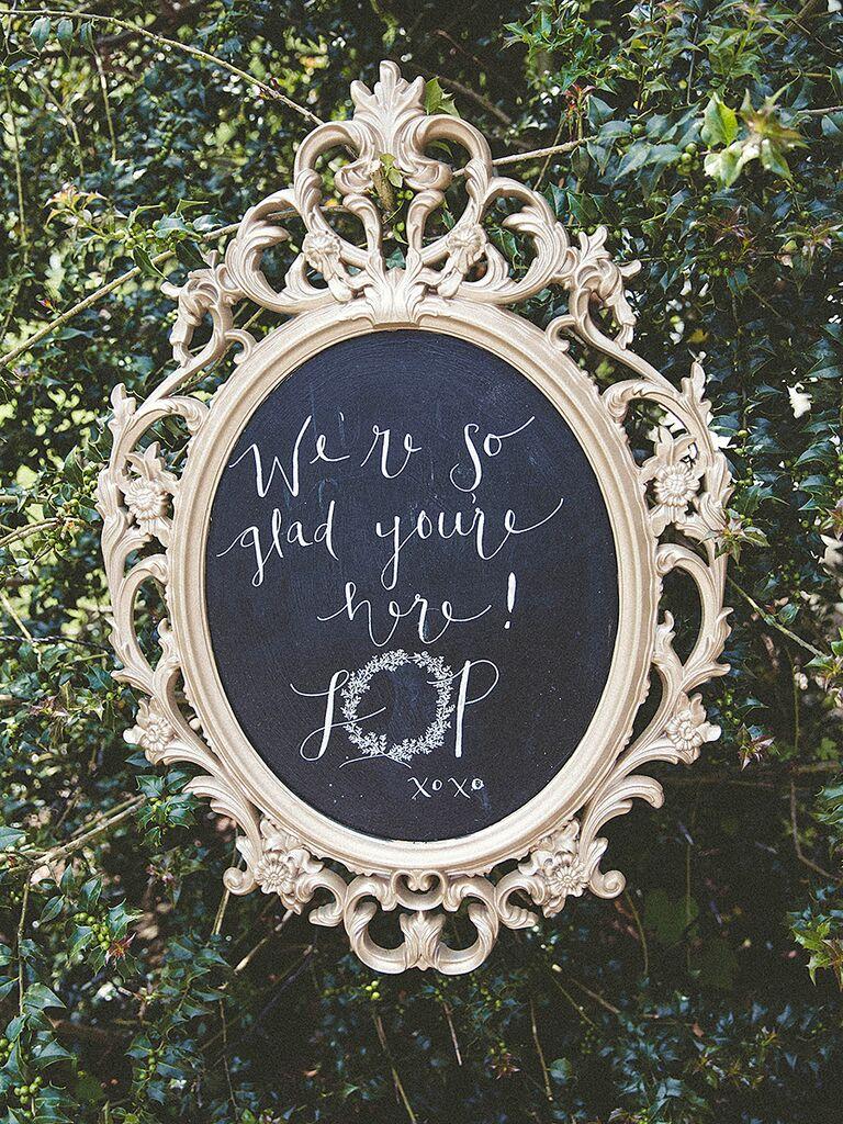 Glamorous DIY wedding welcome sign