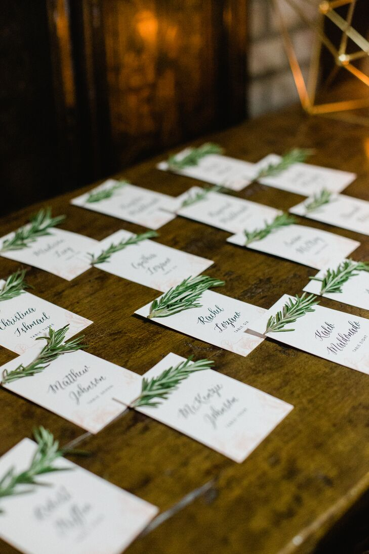 Calligraphed Place Cards with Rosemary