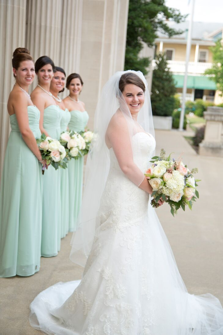 860aeafe54b Lace Ball Gown and Green Bridesmaid Dresses