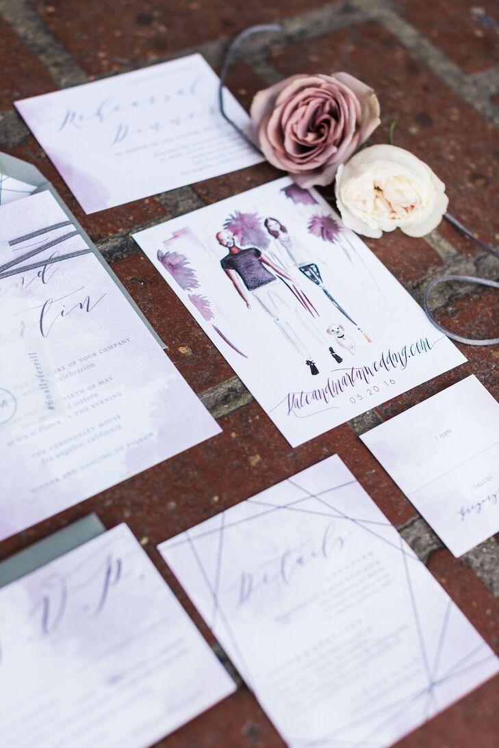 Custom Invitations with Purple and Gray Illustrations