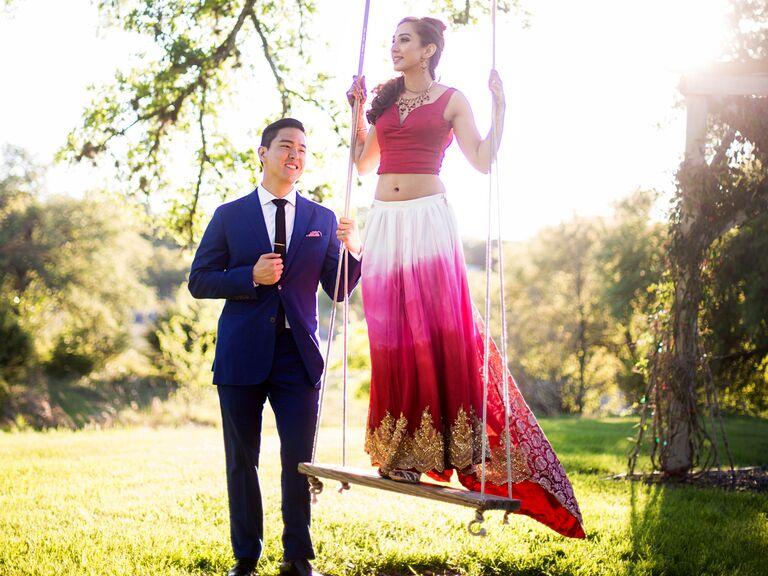 Tie-dye ombré reception dress